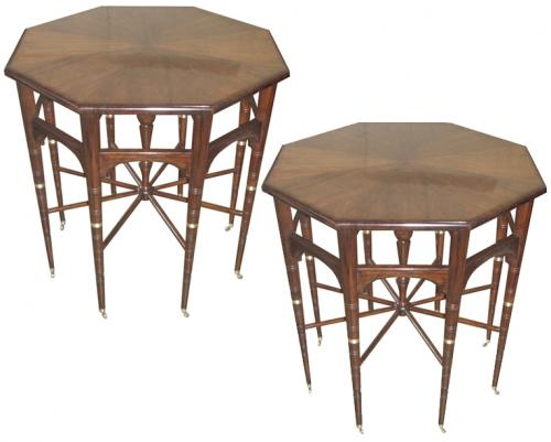 A Pair of Unusual Spoke-wheel (Spider Table) Octagonal Mahogany Side Tables No. 3654