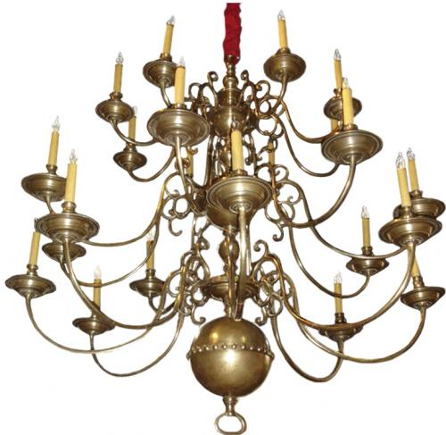 A Large Scale Three Tiered Early 19th Century Dutch Brass Chandelier No. 3324