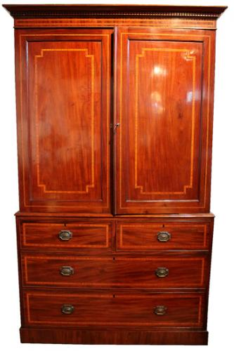 A Fine Early 19th Century English Hepplewhite Mahogany Linen Press No. 841