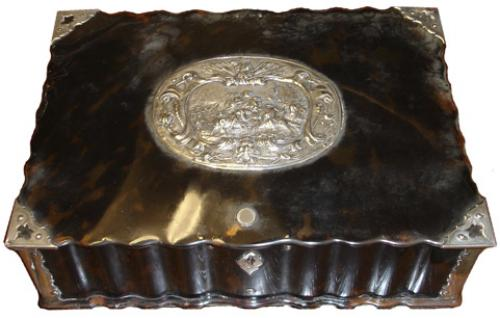 A 19th Century Dutch Translucent Tortoiseshell and Sterling SilverValuables Box No. 3494