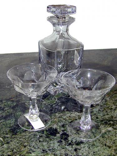 A French Crystal Decanter with Two Glasses No. 191
