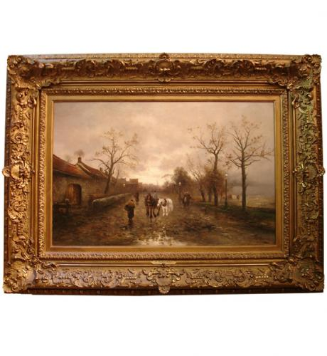 "A 19th Century Italian Oil on Canvas,""Peasants with Horses on Village Road"" No. 2435"