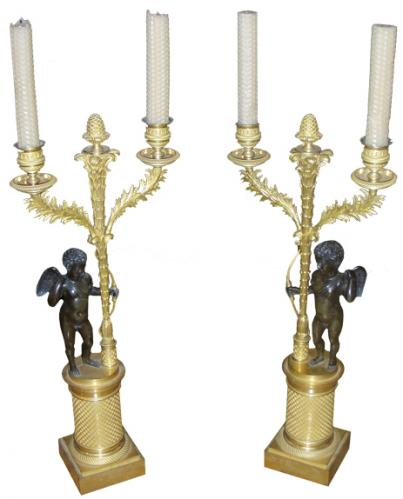A Pair of 19th Century Italian Bronze Ormolu Candelabra No. 3730