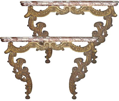 A Pair of Italian 18th Century Two-Legged Giltwood Consoles No. 3744