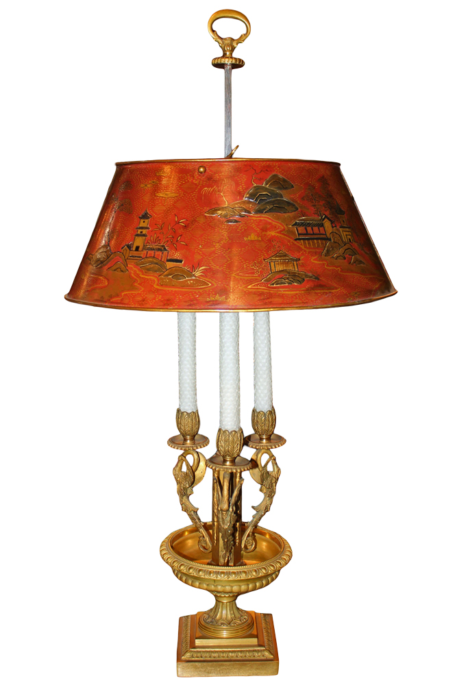 A 19th Century Three-Light French Chinoiserie Bouillotte Lamp No. 2834