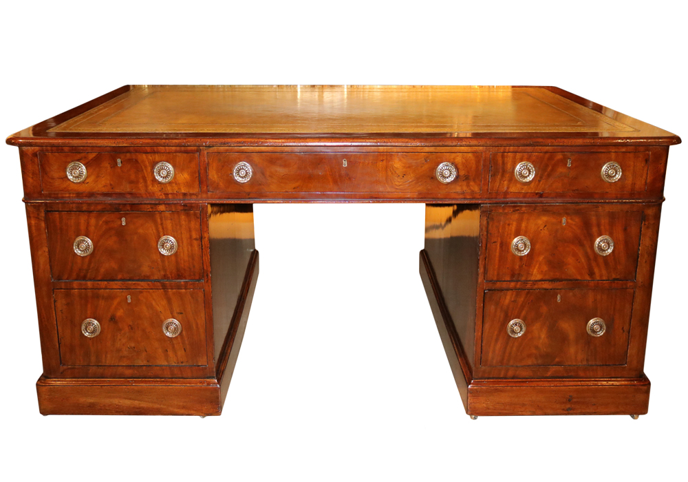 An English Regency Mahogany Partners Desk No. 2836