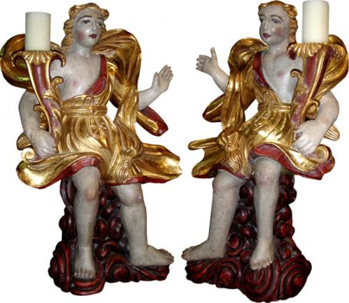 An 18th Century Pair of Polychrome and Parcel-Gilt Angel Torchères No. 3812