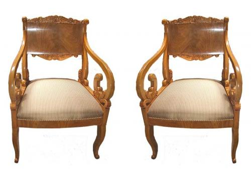 A Rare Pair of Intricately Carved 19th Century Russian Empire Chairs No. 2741