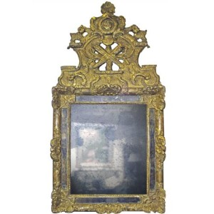 An 18th Century French Transitional Louis XV Giltwood Mirror No. 3818