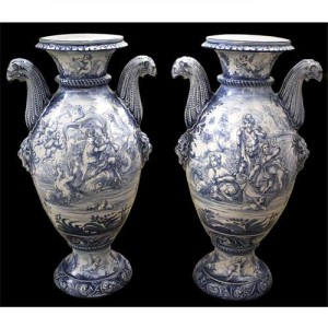 "A Palazzo Scaled Pair of Blue and White ""Idras"" Urns No. 3923"