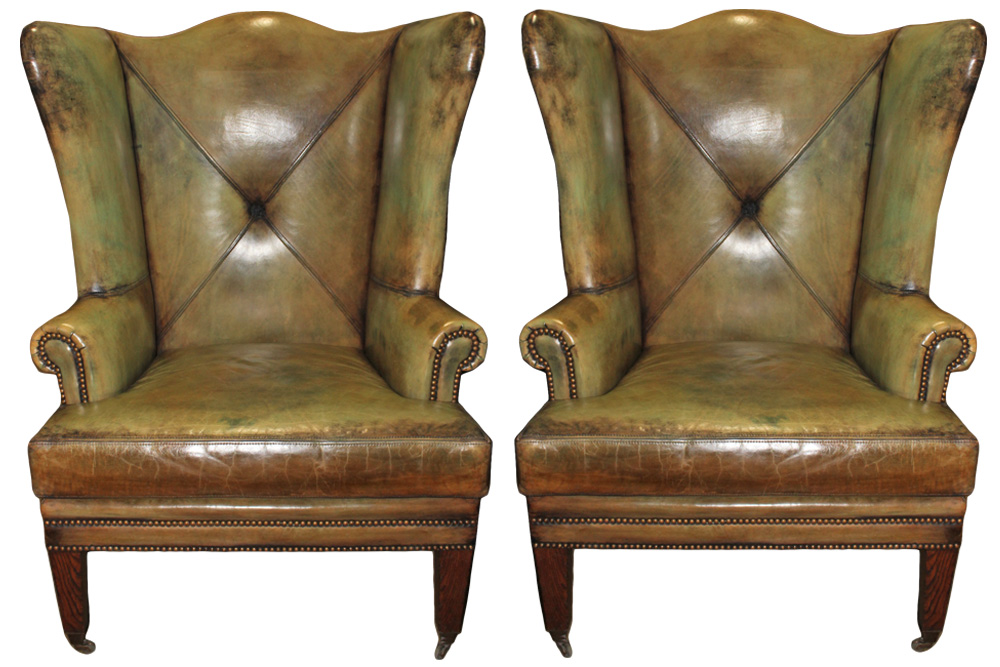 A Vintage Pair of Oversized Wing Chairs No. 3009