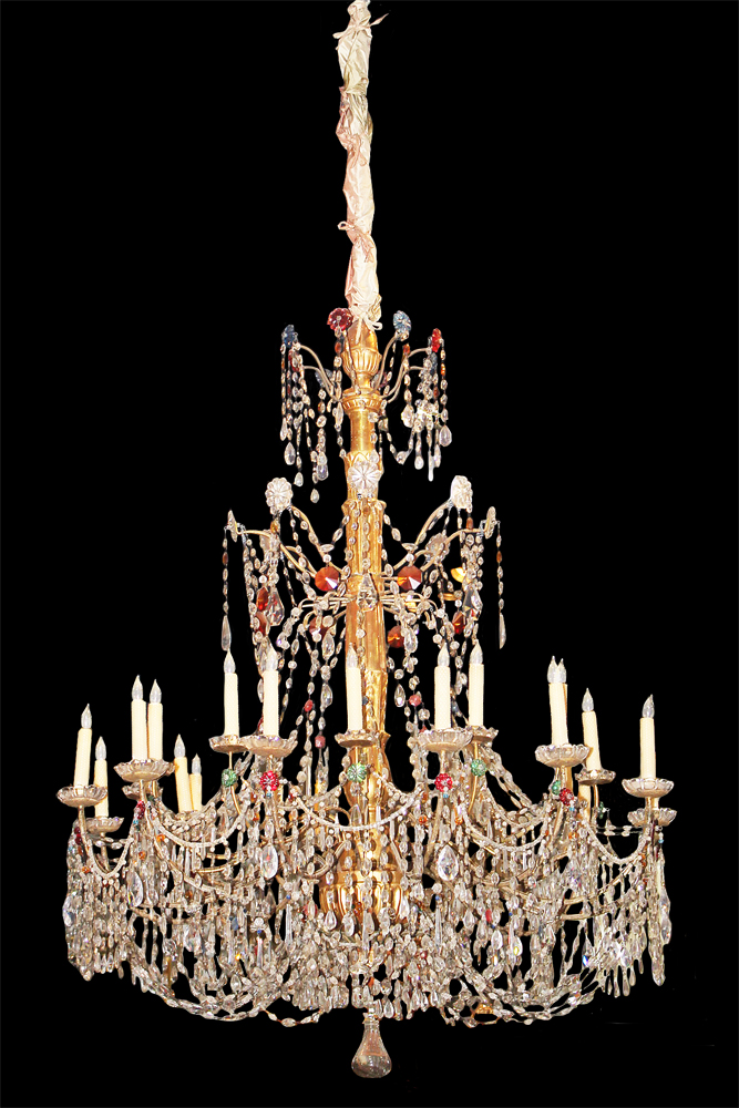A Massive 18th Century 21-Light Genovese Parcel-Gilt and Crystal Chandelier No. 3047