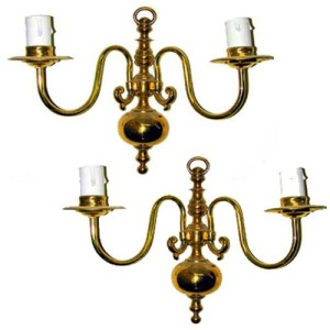 A Pair of 19th Century English Brass Two-Arm Wall Sconces No. 1225