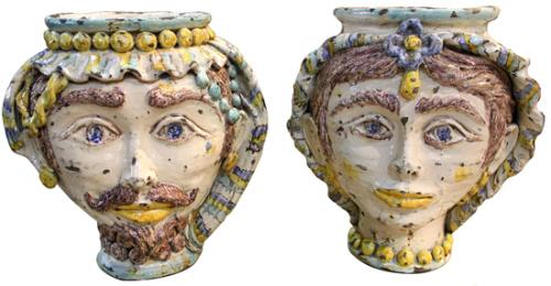 A Pair of 19th Century Sicilian Majolica Rusticated Cachepots No. 3118
