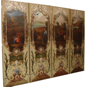 An 18th Century Dutch Four Panel Hand-Painted Screen No. 2198