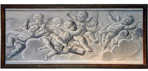 An Italian Grisaille Painting of Angelic Winged Putti No. 1152