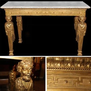 A Highly Important Late 18th Century Italian Louis XVI Giltwood Console Table No. 4070