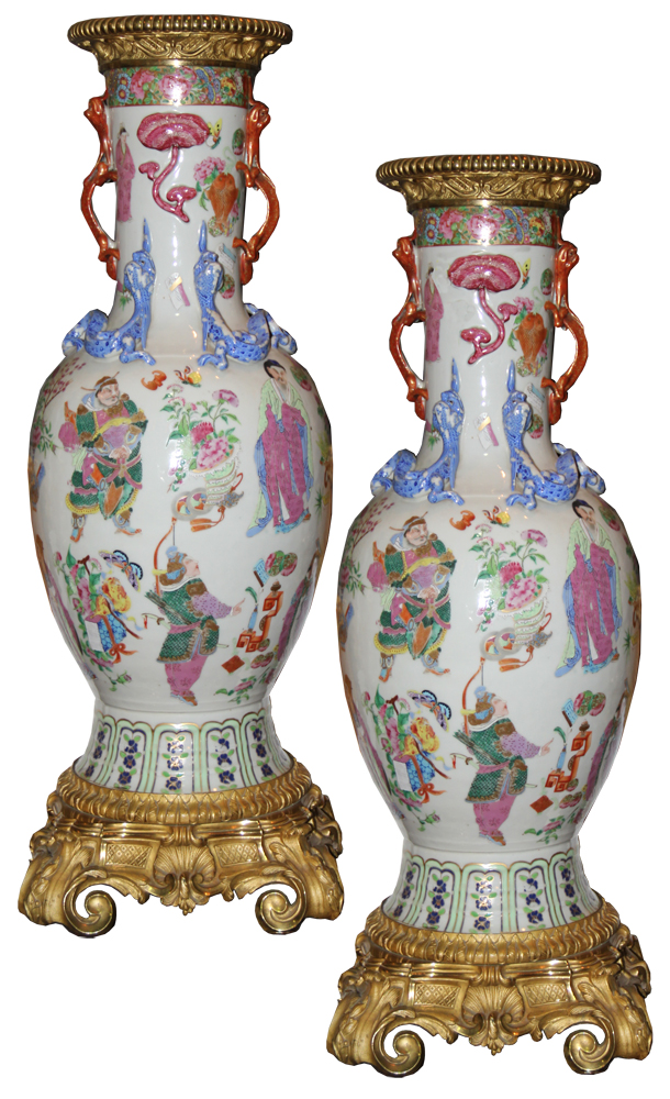 A Pair of Large Scale Early 19th Century Chinese Porcelain Vases No.  3148