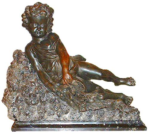 A 19th Century Italian Bronze Recumbent Putto No. 2546
