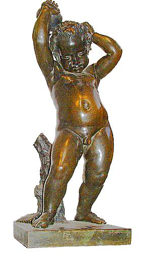 A Playful 19th Century Bronze Bacchant Putto Wearing a Grapevine Wreath on His Head No. 2389