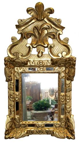 A Diminutive 18th Century Transitional Régence-Louis XV Giltwood Mirror No. 4124