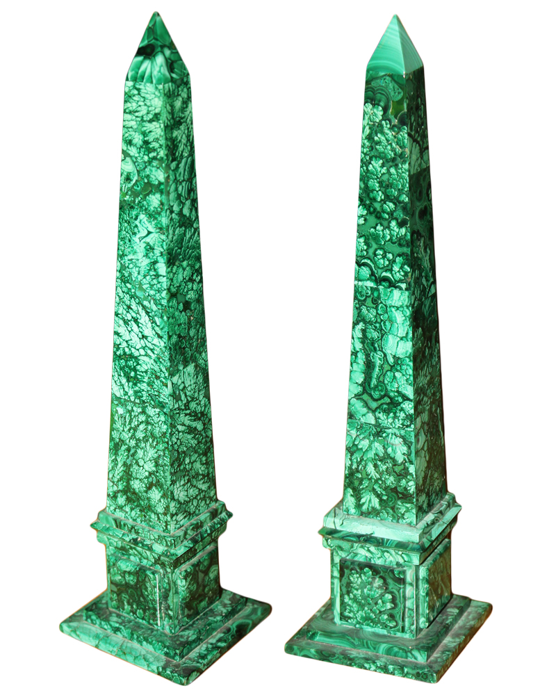 A Diminutive Late 19th Century Pair of Russian Malachite Obelisks No. 3218