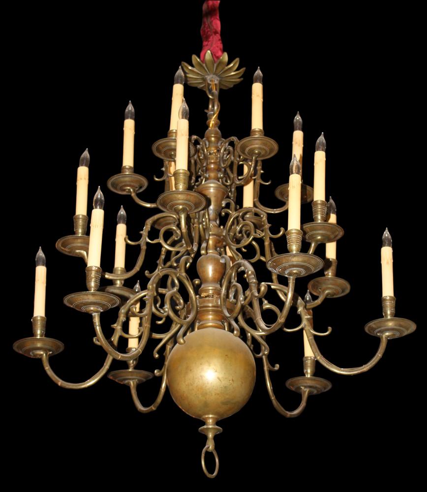 An 18th Century Fine Dutch Eighteen-Light Three Tiered Brass Chandelier No. 3227