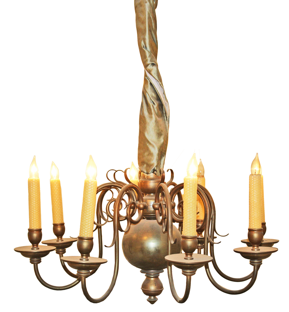 An Elegant Late 19th Century Dutch 8-Light Brass Chandelier No. 3252