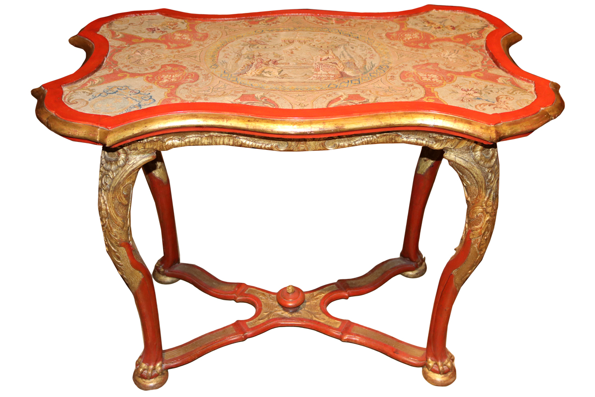 An Unusual 18th Century Vermillion Polychrome and Parcel-Gilt Venetian Needlepoint Topped Side Table No. 3306