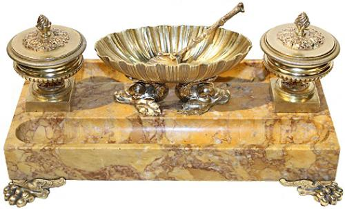A 19th Century Italian Siena Marble and Brass Inkstand No. 4247