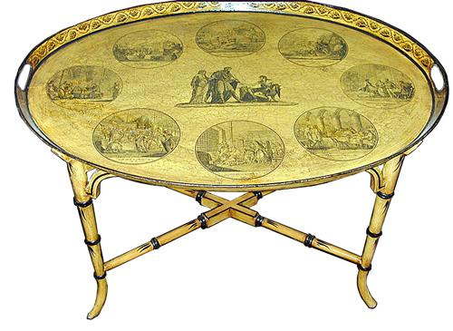 An English Yellow Oval Tole Tray No. 1216