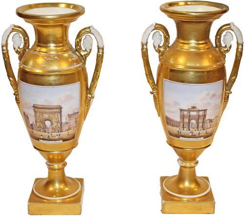 A Pair of Unusual 19th century French Grand Tour Porcelain de Paris Gold Urns No. 4259
