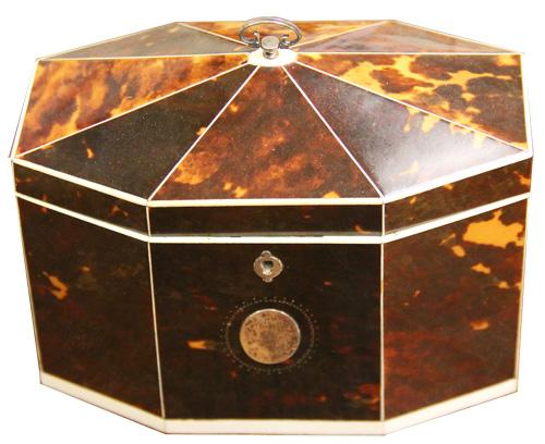 A Late 18th-Early 19th Century English Bone-Inlaid Tortoiseshell Tea Caddy No. 4215