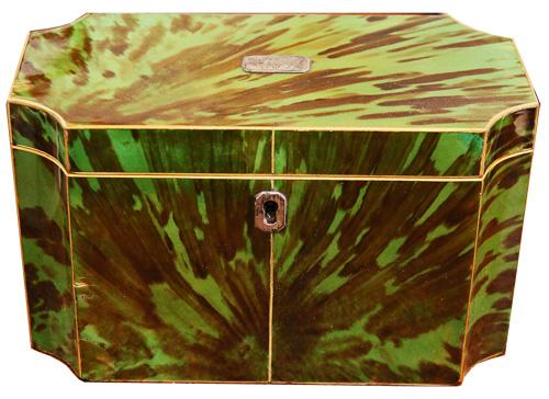 An Early 18th Century English Green Tortoiseshell Double Tea Caddy No. 4217