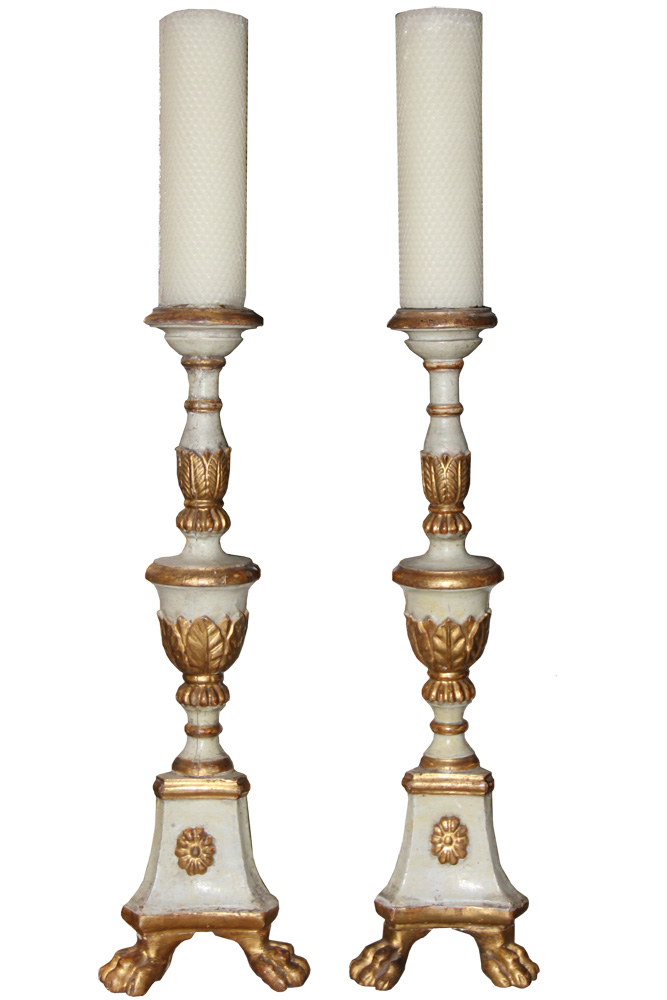 A Pair of Diminutive 18th Century Italian Polychrome and Parcel-Gilt Pricket Sticks No. 3417
