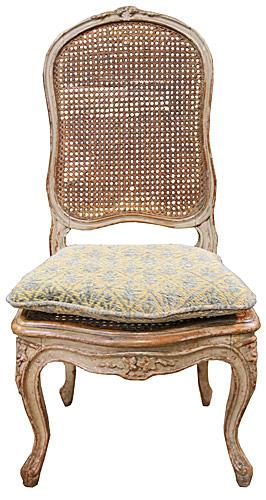 A Charming Diminutive 18th Century French Louis XV Parcel-Gilt and Polychrome Caned Child's Chair No. 4332