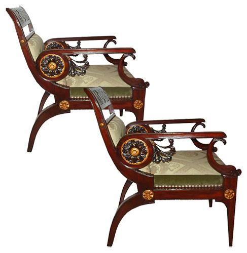 An Unusual Pair of Prussian 19th Century Mahogany Parcel-Gilt and Polychrome Egyptian Revival Armchairs No. 2775