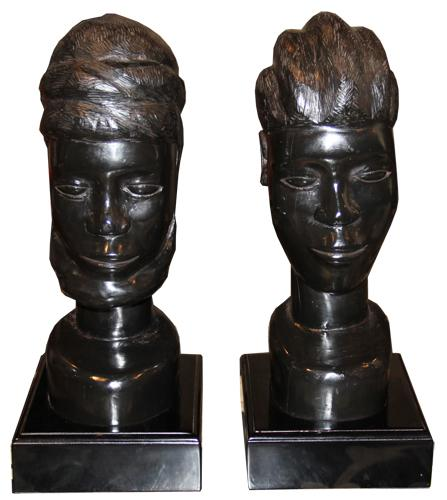 A Pair of 19th Century African Ebony Busts No. 4344