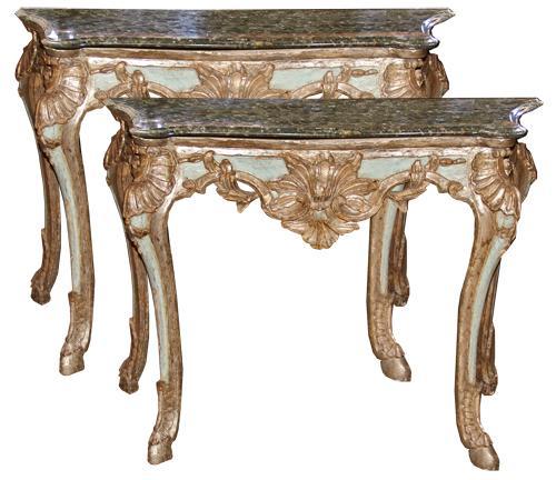 A Pair of 18th Century Neopolitan Italian Rococo Mecca Silver Gilt and Polychrome Consoles No. 4373