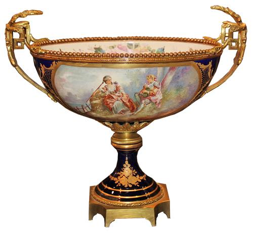 A 19th Century French Hand-Painted Porcelain Tazza No. 4436