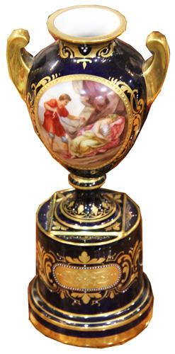 A 19th Century French Hand-Painted Porcelain Urn No. 4381