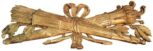 A 19th Century Italian Empire Giltwood Architectural Trophy Element No. 4425