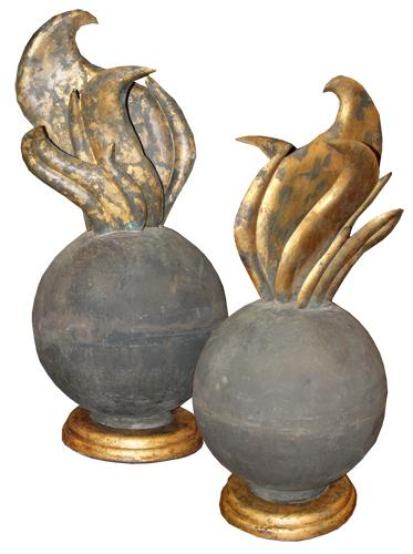 A Pair of Highly Unusual 18th Century French Tin and Parcel-Gilt Flame Finials No. 4450