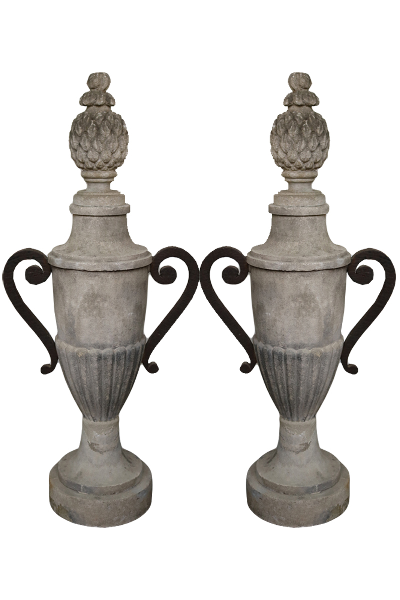 A Pair of 18th Century Pietra di Vicenza Vasiform Gate Finials No. 3553