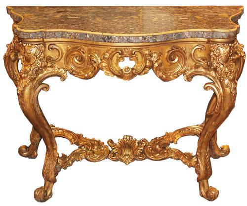 A Striking Late 18th Century Italian Louis XV Giltwood Console No. 4456