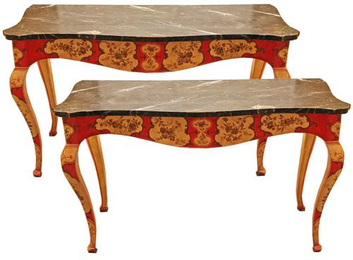 A Striking Pair of 18th Century Venetian Polychrome Consoles No. 4448