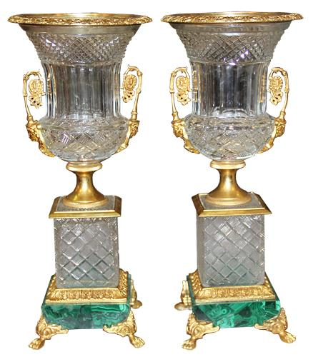 A Pair of 19th Century French Cut Leaded Crystal and Ormolu Urns No. 4479