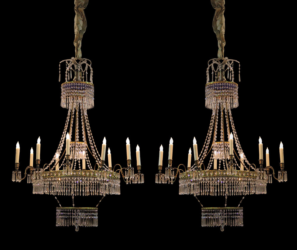 A Pair of Magnificent 12-Light 19th Century Russian Cobalt Blue, Clear Crystal and Gilt Chandeliers 3594