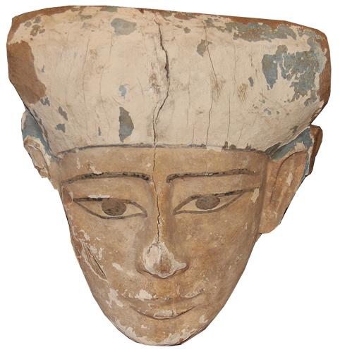 An Ancient Egyptian Polychrome on Wood Burial Mask No. 4485