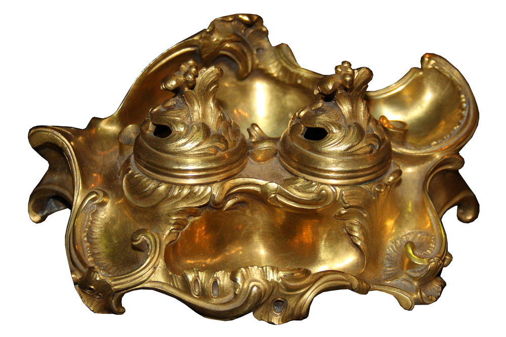 An Early 19th Century Gilded Bronze Rococo Inkwell No. 3618